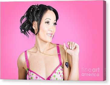 Girl Wearing Exquisite Jewelry On Pink Background  Canvas Print by Jorgo Photography - Wall Art Gallery