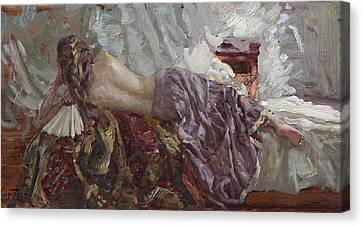 Girl With A Fan Canvas Print by Korobkin Anatoly