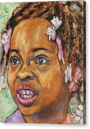 Canvas Print featuring the painting Girl With Dread Locks by Xueling Zou