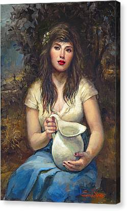Girl With Pitcher Canvas Print by Ron Escudero