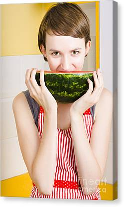 Girl With Short Hair Eating Ripe Juicy Watermelon Canvas Print by Jorgo Photography - Wall Art Gallery