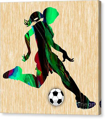 Girls Soccer Canvas Print by Marvin Blaine