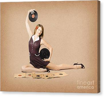 Glamorous Pinup Girl Holding Vinyl Lp Records Canvas Print by Jorgo Photography - Wall Art Gallery
