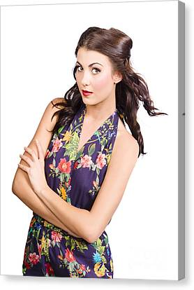 Hairstyle Canvas Print - Glamour Portrait Of Beautiful Woman Makeup Model by Jorgo Photography - Wall Art Gallery