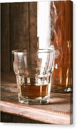 Glass Of Southern Scotch Whiskey On Wooden Table Canvas Print by Jorgo Photography - Wall Art Gallery