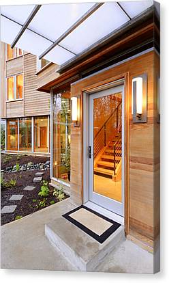 Glass Windows And Doors Of Modern House Canvas Print by Will Austin