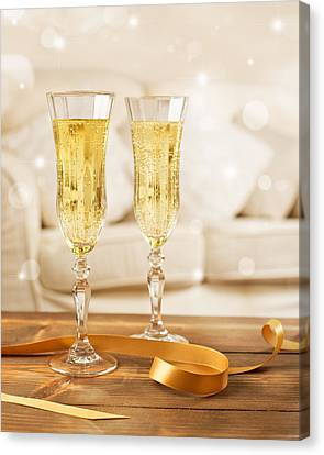 Glasses Of Champagne Canvas Print by Amanda Elwell