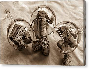 Glasses Of Corks Toned Canvas Print by Georgia Fowler