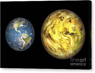 Gliese Canvas Print - Gliese 581 C And Earth Compared, Artwork by Walter Myers