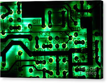 Glowing Green Circuit Board Canvas Print by Amy Cicconi