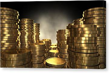Gold Coin Stacks Canvas Print by Allan Swart
