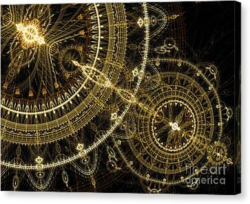 Golden Abstract Circle Fractal Canvas Print by Martin Capek