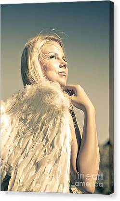 Golden Angel Looking To The Heavens Canvas Print by Jorgo Photography - Wall Art Gallery