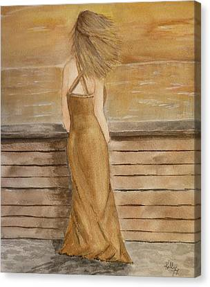 Canvas Print featuring the painting Golden Breeze by Kelly Mills