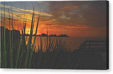 Tropical Sunset Canvas Print - Golden Christmas Sunset by Richard Zentner