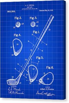 Golf Club Patent 1909 - Blue Canvas Print
