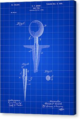 Golf Tee Patent 1899 - Blue Canvas Print by Stephen Younts