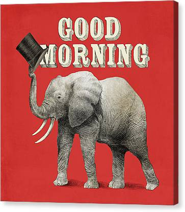Elephants Canvas Print - Good Morning by Eric Fan