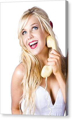 Youthful Canvas Print - Gorgeous Blond Woman Laughing On Telephone Call by Jorgo Photography - Wall Art Gallery