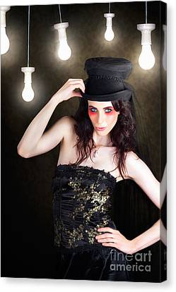 Gorgeous Female Fashion Model Wearing Top Hat Canvas Print by Jorgo Photography - Wall Art Gallery