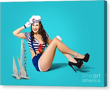 Gorgeous Pin Up Sailor Girl Wearing Hat Canvas Print