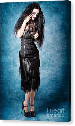 Gothic Female Fashion Model. Elegant Black Outfit Canvas Print by Jorgo Photography - Wall Art Gallery