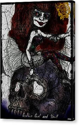 Gothic Girl And Skull Canvas Print