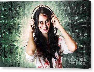 Gothic Rock Music Girl Wearing Headphones Canvas Print by Jorgo Photography - Wall Art Gallery