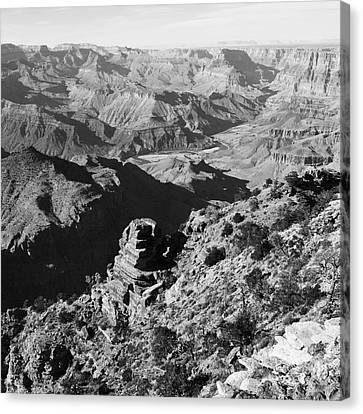 Grand Canyon Eastern Sunset View Square Black And White Canvas Print