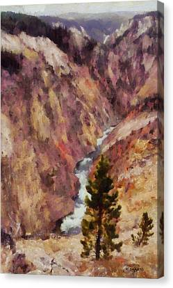 Canvas Print featuring the painting Grand Canyon Of The Yellowstone by Kai Saarto