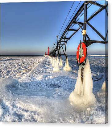 Grand Haven Pier In Winter Canvas Print by Twenty Two North Photography