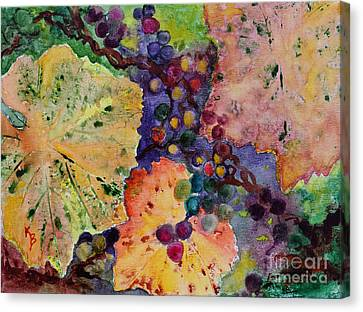 Canvas Print featuring the painting Grapes And Leaves by Karen Fleschler