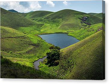 Grassy Hills And Lake Canvas Print