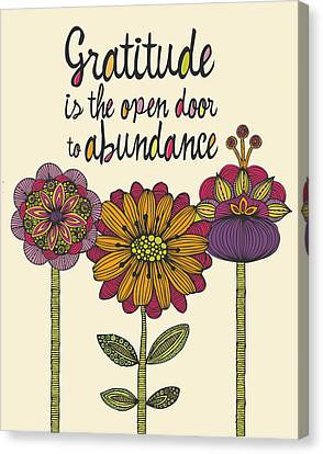 Gratitude Is The Open Door To Abundance Canvas Print by Valentina Ramos