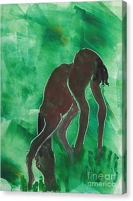 Bay Horse Canvas Print - Grazing In The Grass  by Cori Solomon