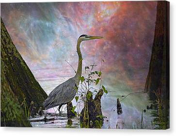 Canvas Print featuring the digital art Great Blue Heron In A Heavenly Mist by J Larry Walker