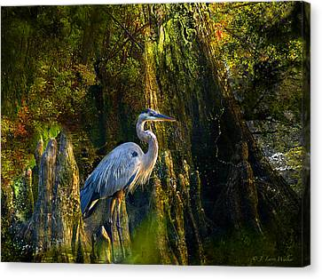 Canvas Print featuring the digital art Great Blue Heron Slowly Strolling by J Larry Walker