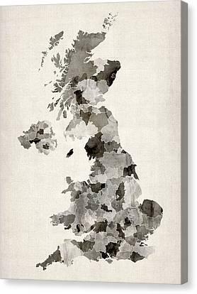 Great Britain Uk Watercolor Map Canvas Print by Michael Tompsett