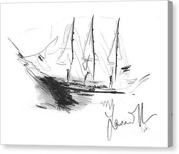 Canvas Print featuring the drawing Great Men Sailing by Laurie Lundquist