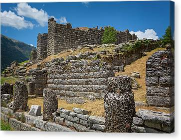 Greece. Ruins Of Ancient Dodoni Canvas Print by Ken Welsh