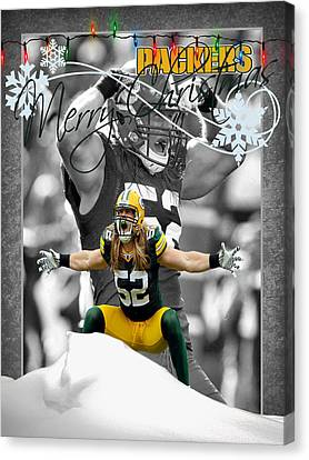 Green Bay Packers Christmas Card Canvas Print