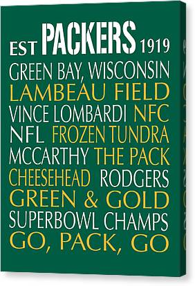 Bus Roll Canvas Print - Green Bay Packers by Jaime Friedman