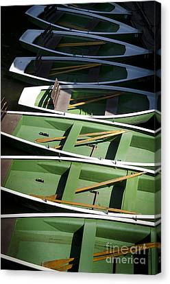 Green Boats Canvas Print by Jessica Berlin