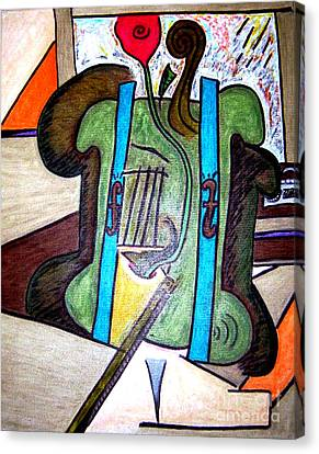 Green Cello Plants In A Pot Canvas Print