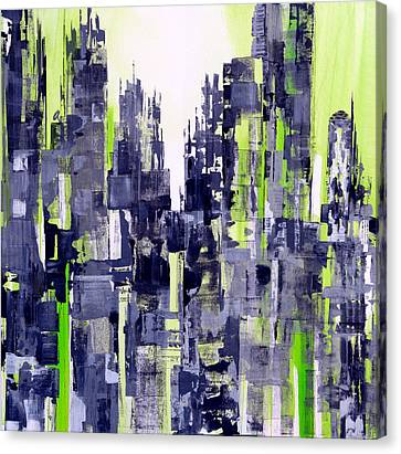 Canvas Print featuring the painting Green City by Katie Black