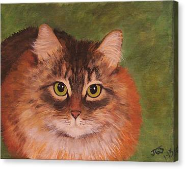 Canvas Print featuring the painting Green Eyed Kitty by Janet Greer Sammons