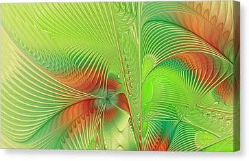 Generative Art Canvas Print - Green Machine by Deborah Benoit