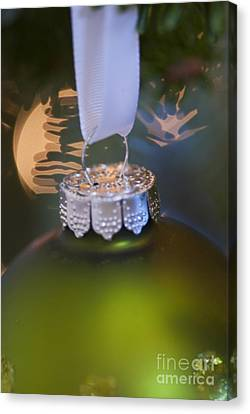 Green Ornament Hanging In Tree Canvas Print by Birgit Tyrrell