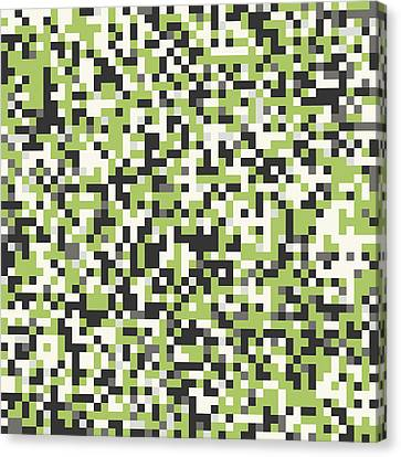 Canvas Print featuring the digital art Green Pixel Art by Mike Taylor
