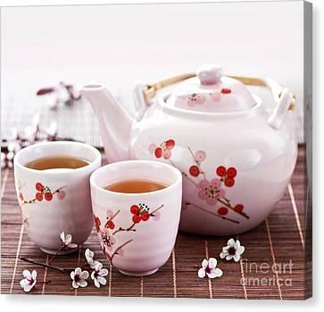 Green Tea Set Canvas Print